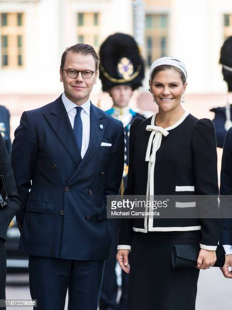 Prince Daniel of Sweden and Crown Princess Victoria of Sweden pose for a picture upon arriving at the Swedish Parliament House for the opening of the...