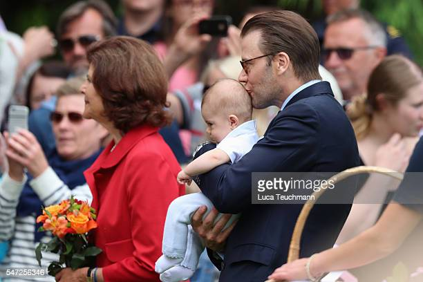 Prince Daniel of Sweden and Prince Oscar of Sweden arrive for Birthday celebrations of Crown Princess Victoria of Sweden at Solliden Palace on July...