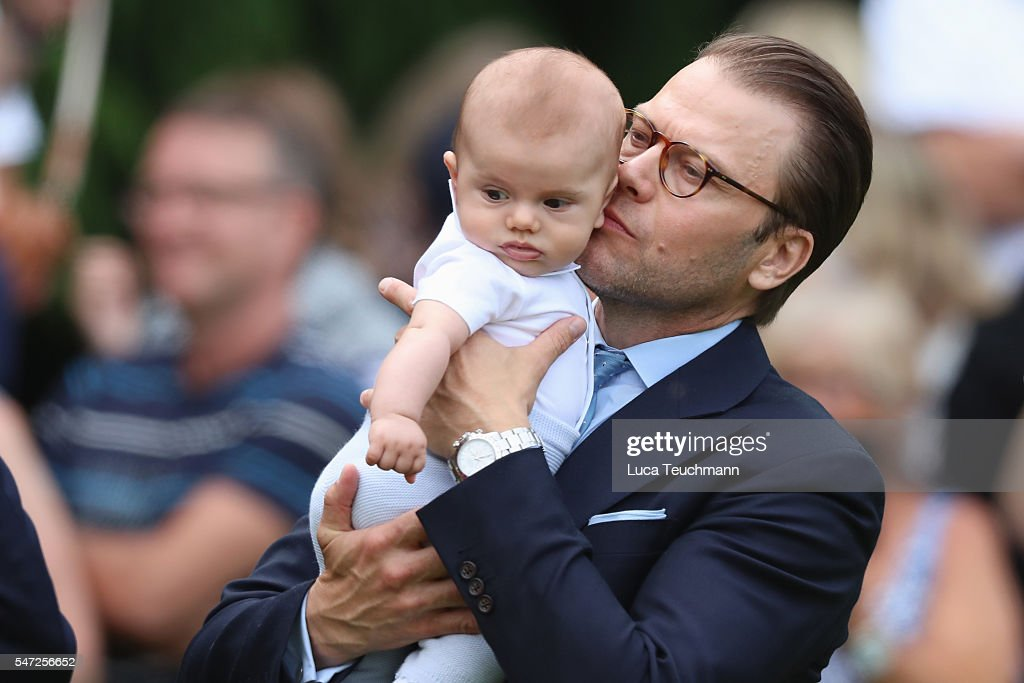 Prince Daniel of Sweden and Prince Oscar of Sweden arrive for Birthday celebrations of Crown Princess Victoria of Sweden at Solliden Palace on July 14, 2016 in Oland, Sweden.