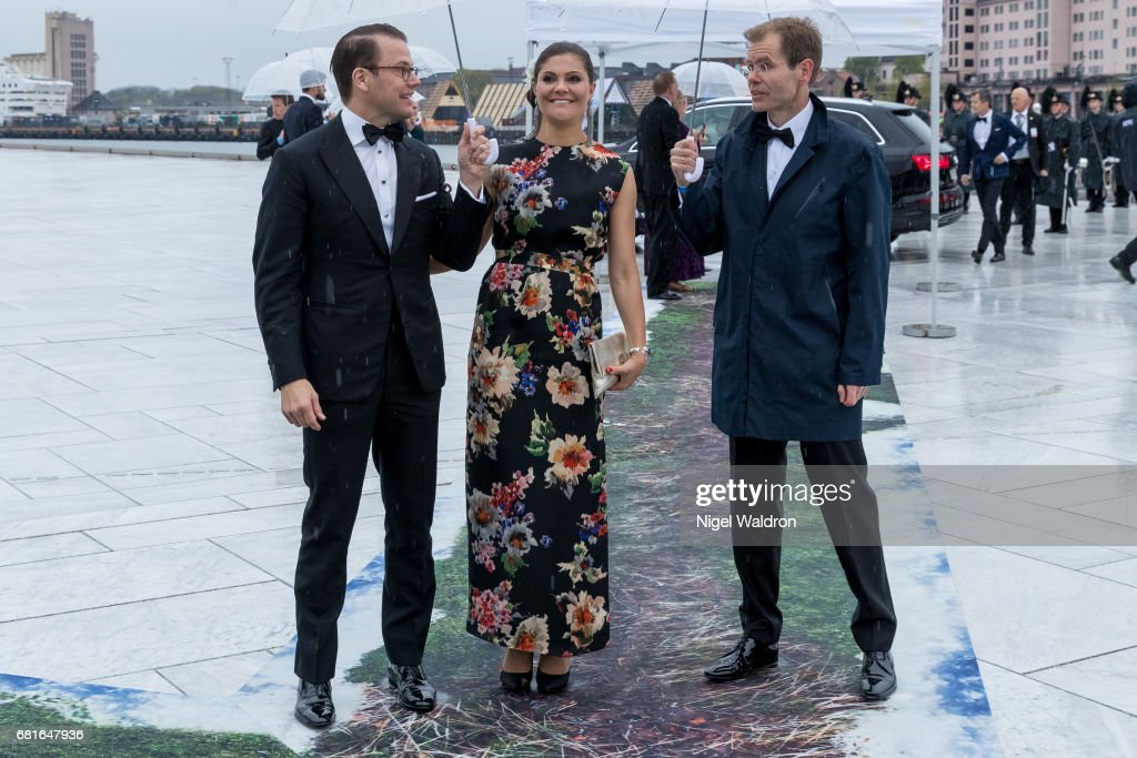 Prince Daniel of Sweden and Princess Victoria of Sweden arrives at the Opera House on the occasion of the celebration of King Harald and Queen Sonja of Norway 80th birthdays on May 10 2017 in Oslo, Norway.