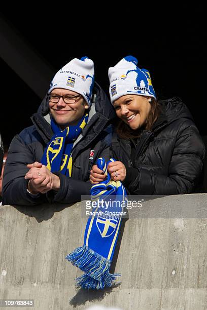 Prince Daniel of Sweden and Princess Victoria of Sweden attend the Men's Relay 4x10km Classic/Free race during the FIS Nordic World Ski Championships...