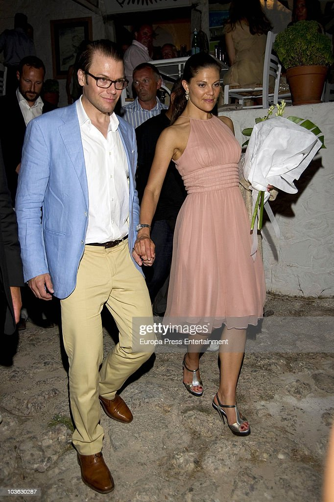 Prince Daniel of Sweden and wife Crown Princess Victoria of Sweden attend a dinner for young people at a small greek restaurant, held after the pre-wedding reception at the Poseidon Hotel on August 24 2010 in Spetses, Greece. The small greek Island, three hours from Athens, is gearing up for the Royal Wedding of Prince Nikolaos of Greece and Tatiana Blatnik on August 25. Royals from all over Europe and the world are expected to attend the ceremony. Prince Nikolaos is the second son of King Constantine and Queen Anne-Marie while Tatiana is an events planner for Diane Von Furstenburg in London. Many of the VIP guests are expected to stay in the Poseidon Hotel in the town centre.