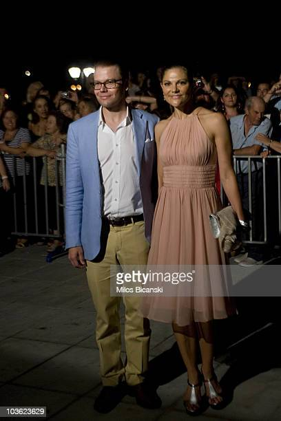 Prince Daniel of Sweden and wife Crown Princess Victoria of Sweden arrive for the prewedding reception at the Poseidon Hotel on August 24 2010 in...