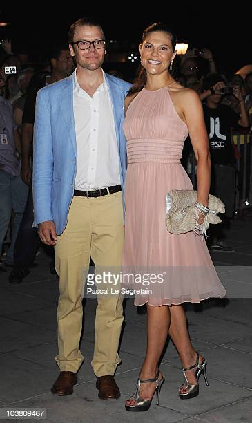 Prince Daniel of Sweden and wife Crown Princess Victoria of Sweden arrive at Poseidon Grace Hotel on August 24 2010 in Spetsai Greece The small greek...