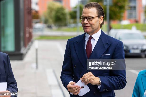 Prince Daniel of Sweden arrives at Tullhuset during a visit to the province of Gavleborg to discuss with locals the lasting effects of the COVID-19...