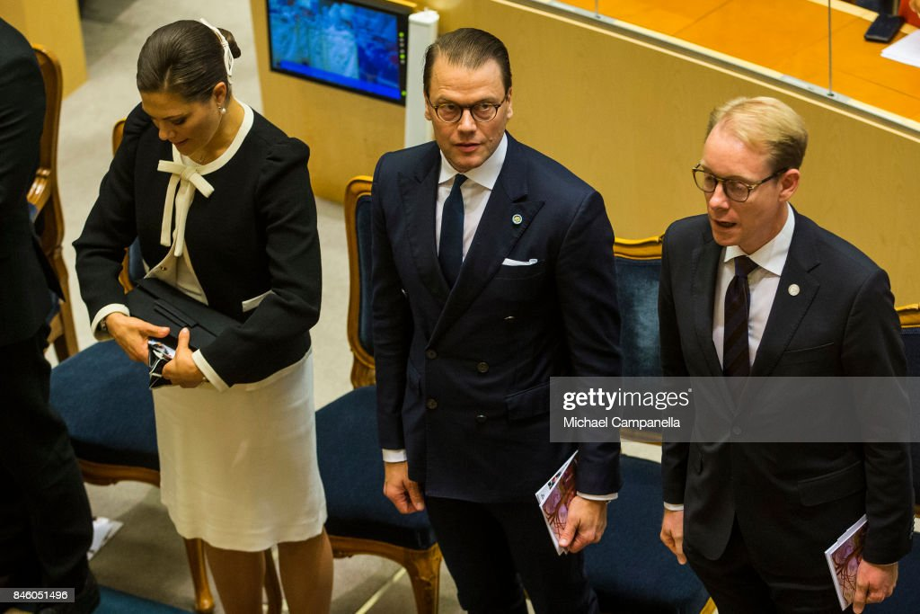 Prince Daniel of Sweden (center) attends the opening of the Parliamentary session on September 12, 2017 in Stockholm, Sweden.
