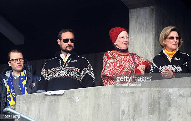 Prince Daniel of Sweden Crown Prince Haakon of Norway Queen Margrethe II of Denmark and Queen Sonja of Norway attend the Ladies Cross Country 4x5km...