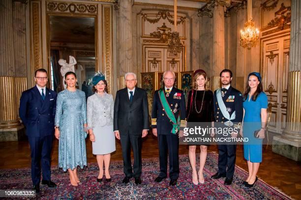 Prince Daniel of Sweden Crown Princess Victoria of Sweden Queen Silvia of Sweden Italian President Sergio Mattarella King Carl XVI Gustaf of Sweden...