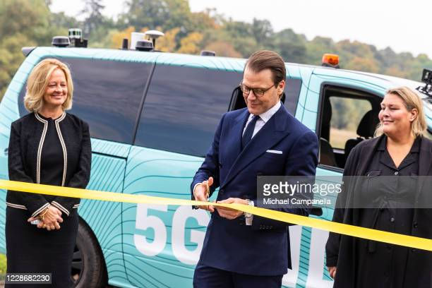 Prince Daniel of Sweden cuts a ribbon for the inauguration of a selfdriving 5G connected minivan during a seminar on on the future of public...
