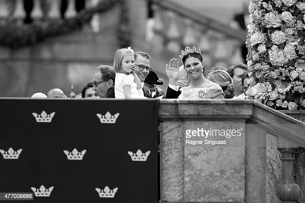Prince Daniel of Sweden, her daughter Princess Estelle and Crown Princess Victoria of Sweden seen after the royal wedding ceremony of Prince Carl...