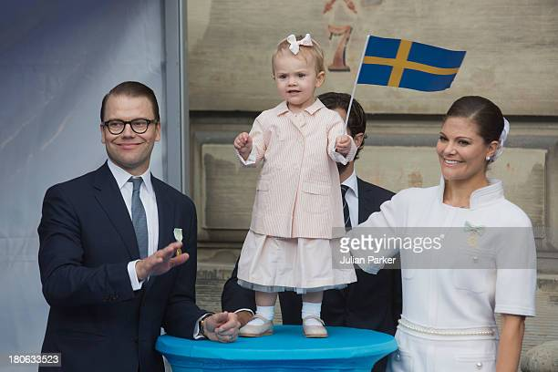 Prince Daniel of Sweden Princess Estelle of Sweden and Crown Princess Victoria of Sweden attend the city of Stockholm's celebrations for King Carl...