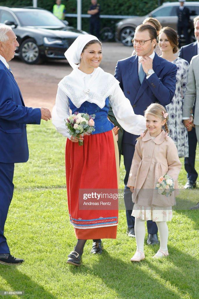 Prince Daniel of Sweden, Princess Estelle of Sweden and Crown Princess Victoria of Sweden attend the celebrations of Crown Princess Victoria of Sweden's 40th birthday at Borgholm IP on July 14, 2017 in Borgholm, Sweden.