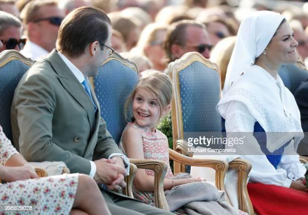 Prince Daniel of Sweden, Princess Estelle of Sweden and Crown Princess Victoria of Sweden during the occasion of The Crown Princess Victoria of...