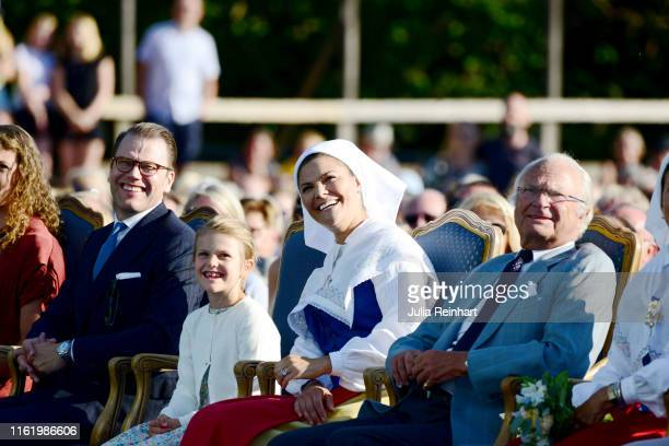 Prince Daniel of Sweden, Princess Estelle of Sweden, Crown Princess Victoria of Sweden and King Carl Gustaf of Sweden are seen on the occasion of The...
