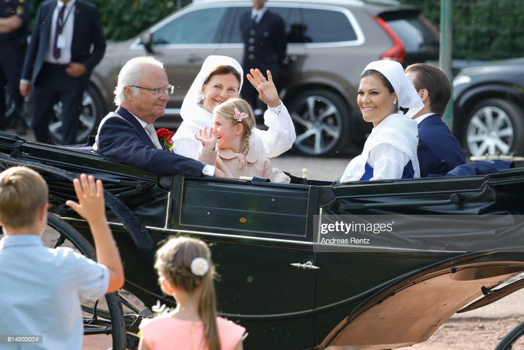 Prince Daniel of Sweden, Princess Estelle of Sweden, Crown Princess Victoria of Sweden, King Carl Gustaf of Sweden and Queen Silvia of Sweden attend the celebrations of Crown Princess Victoria of Sweden's 40th birthday at Borgholm IP on July 14, 2017 in Borgholm, Sweden.