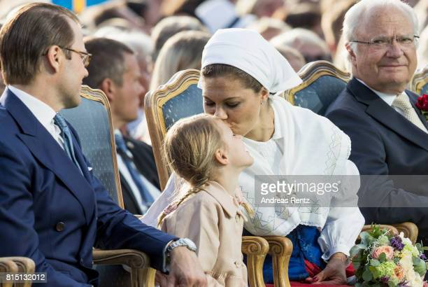 Prince Daniel of Sweden Princess Estelle of Sweden Crown Princess Victoria of Sweden and King Carl Gustaf of Sweden attend the celebrations of Crown...