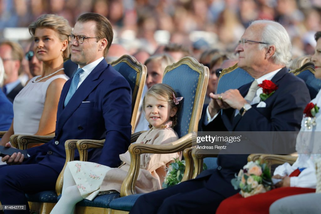 Prince Daniel of Sweden, Princess Estelle of Sweden, King Carl Gustaf of Sweden and Queen Silvia of Sweden attend the celebrations of Crown Princess Victoria of Sweden's 40th birthday at Borgholm IP on July 14, 2017 in Borgholm, Sweden.