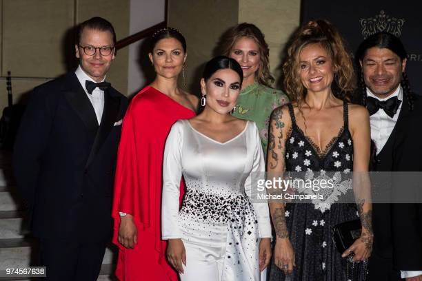 Prince Daniel of Sweden Princess Victoria of Sweden Aryana Sayeed Princess Madeleine of Sweden Chloe Trujillo and Robert Trujillo pose for a picture...