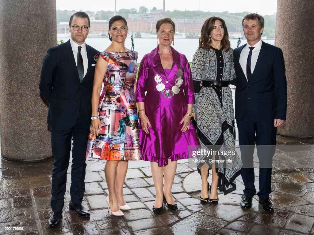Prince Daniel of Sweden, Princess Victoria of Sweden, Eva-Louise Erlandsson Slorach, Prince Frederik of Denmark, and Princess Mary of Denmark arrive Stockholm city hall for an official dinner on May 30, 2017 in Stockholm, Sweden.
