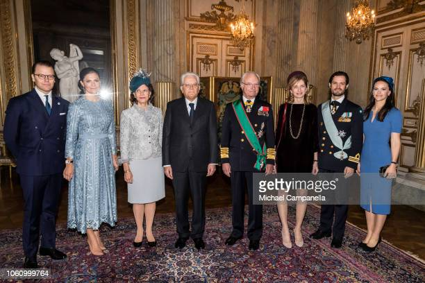 Prince Daniel of Sweden, Princess Victoria of Sweden, Queen Silvia of Sweden, Italian President Sergio Mattarella, King Carl XVI Gustaf of Sweden,...