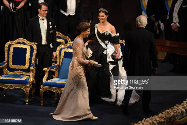 Prince Daniel of Sweden Queen Silvia of Sweden and Crown Princess Victoria of Sweden and King Carl XVI Gustaf of Sweden attend the Nobel Prize Awards...