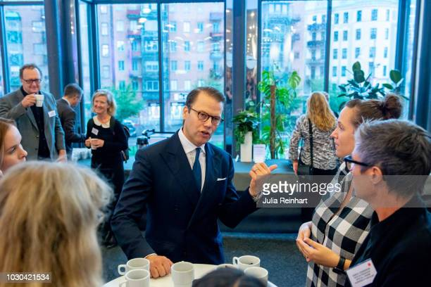 Prince Daniel of Sweden speaks to attendees of Eventhalsan's Launch Day at Svenska Massan on September 10 2018 in Gothenburg Sweden