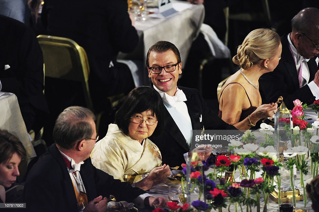 Prince Daniel of Sweden (R) speaks with Per Westerberg, Speaker of the Swedish Parliament (L), during the Nobel Banquet at the Stockholm City Hall on December 10, 2010 in Stockholm, Sweden. The banquet features a three-course dinner, entertainment and dancing.