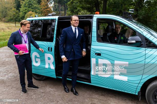 Prince Daniel of Sweden test rides on a selfdriving 5G connected minivan during a seminar on on the future of public transportation and 5G connected...