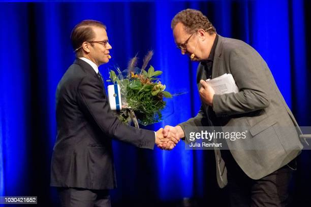 Prince Daniel of Sweden thanks Jan Mellgren Gothenburg's Director for School Development after holding the opening remarks at Eventhalsan's Launch...