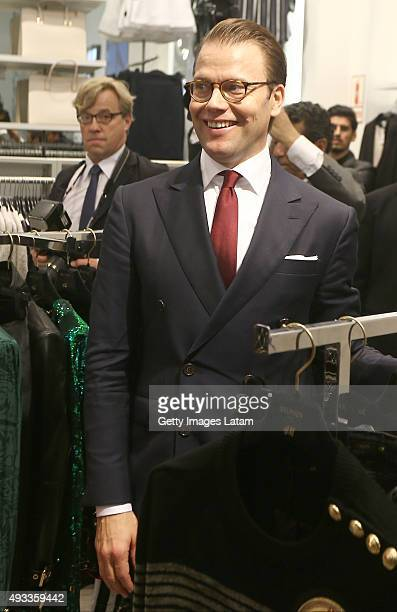 Prince Daniel of Sweden visit a H&M store at Jockey Plaza on October 19, 2015 in Lima, Peru.