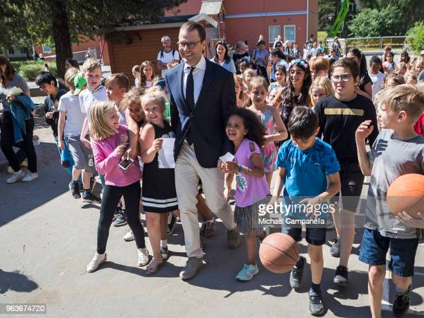 Prince Daniel of Sweden visits Backahag school as a part of his Generation Pep organization's initiative to learn about the 'Brain Movement' program...