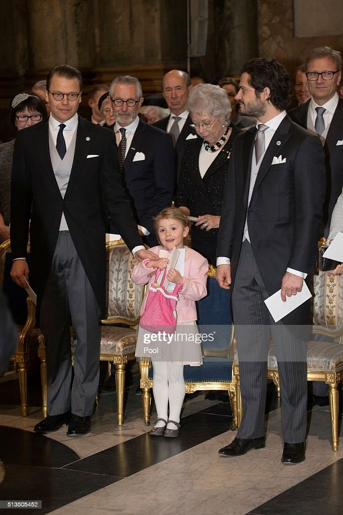 Prince Daniel, Princess Estelle and Prince Carl Philip attend a thanksgiving service for the newborn prince in the palace church at Stockholm Royal Palace on March 3, 2016 in Stockholm, Sweden. The newest addition to the royal family, and third in line to the crown, has been named Prince Oscar Carl Olof.