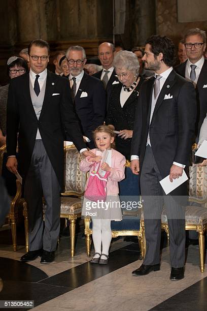Prince Daniel Princess Estelle and Prince Carl Philip attend a thanksgiving service for the newborn prince in the palace church at Stockholm Royal...