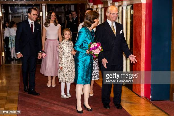 Prince Daniel Princess Sofia Princess Estelle Queen Silvia and King Carl XVI Gustaf of Sweden attend a concert hosted by Lilla Akademien a music...