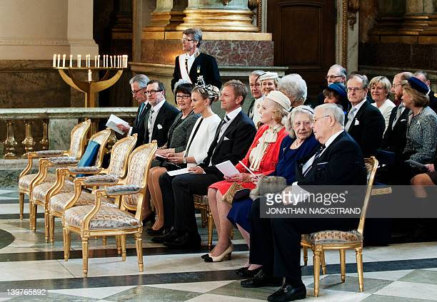 Prince Daniel's parents Olle and Eva Westling his older sister Anna Westling Soderstrom and husband Mikael Soderstrom attend a Te Deum traditional...