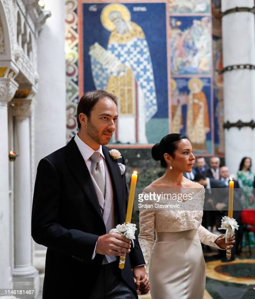Prince Dushan and his bride Valerie De Muzio during their wedding ceremony at Oplenac church on May 25 2019 in Topola Serbia Prince Dushan...