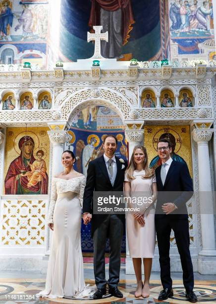 Prince Dushan and Valerie De Muzio pose for a photo with Prince Philip and Princess Danica after their wedding ceremony at Oplenac church on May 25...