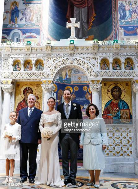Prince Dushan and Valerie De Muzio pose for a photo with Their Royal Highnesses Crown Prince Alexander and Crown Princess Katherine after their...