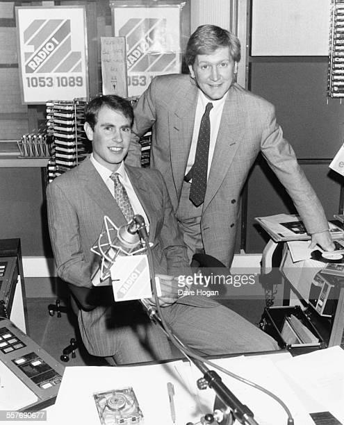 Prince Edward and BBC radio disc jockey Mike Smith at the Radio 1 studios London April 1st 1987