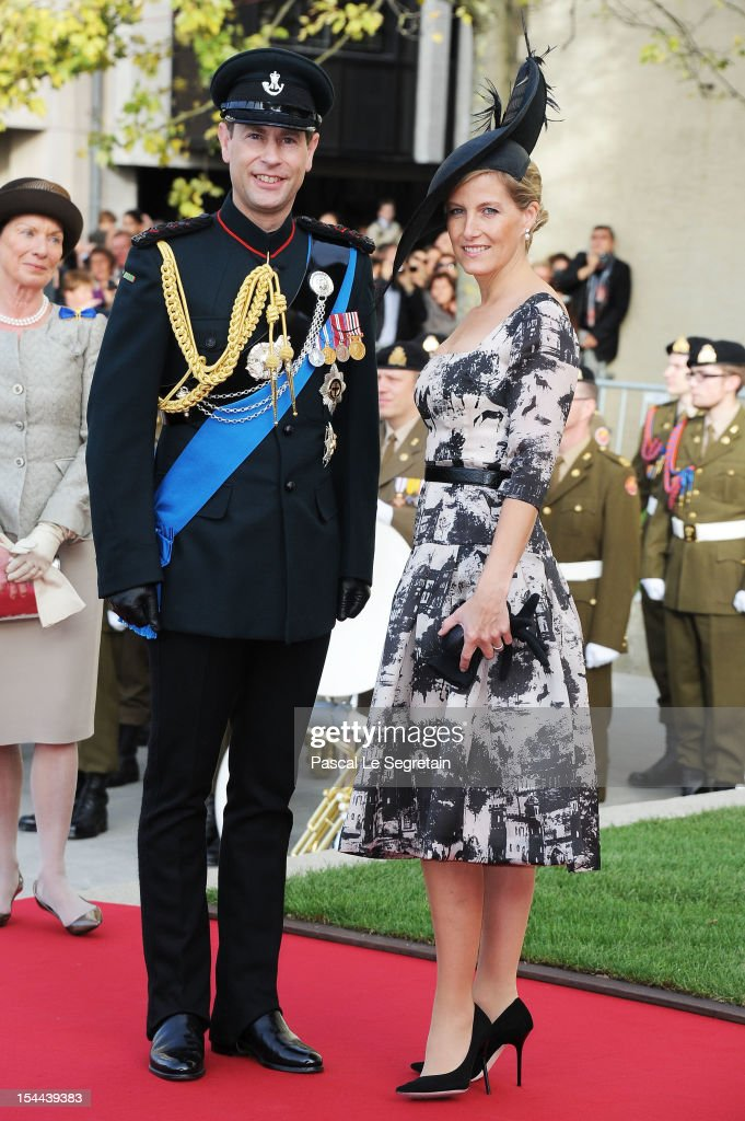 Prince Edward and Countess Sophie of Wessex attend the wedding ceremony of Prince Guillaume Of Luxembourg and Princess Stephanie of Luxembourg at the Cathedral of our Lady of Luxembourg on October 20, 2012 in Luxembourg, Luxembourg. The 30-year-old hereditary Grand Duke of Luxembourg is the last hereditary Prince in Europe to get married, marrying his 28-year old Belgian Countess bride in a lavish 2-day ceremony.