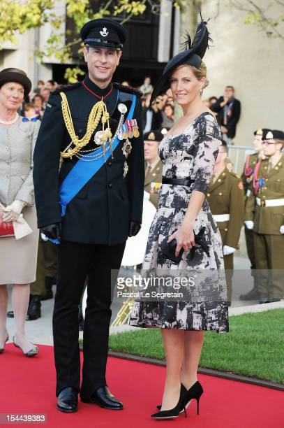 Prince Edward and Countess Sophie of Wessex attend the wedding ceremony of Prince Guillaume Of Luxembourg and Princess Stephanie of Luxembourg at the...