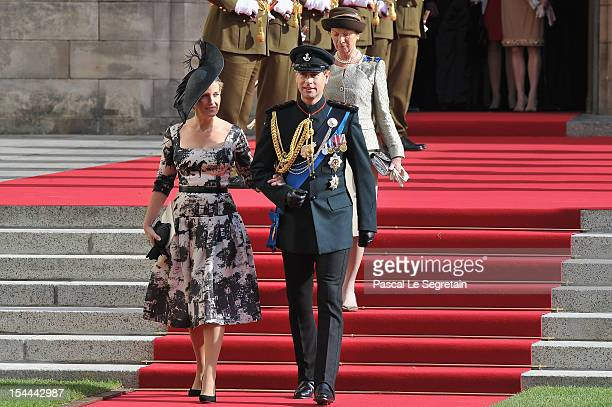 Prince Edward and Countess Sophie of Wessex emerge from the Cathedral following the wedding ceremony of Prince Guillaume Of Luxembourg and Princess...