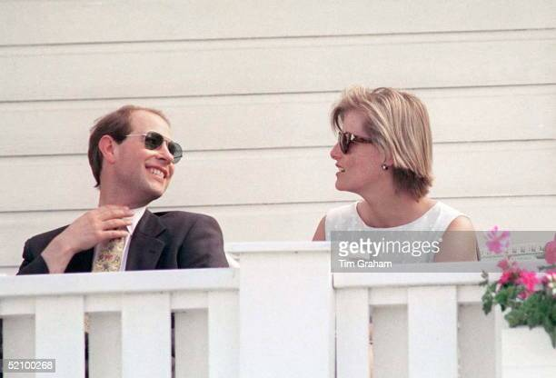 Prince Edward And Girlfriend Sophie Rhysjones Attending The Dorchester Cup Polo Match At Guards Polo Club In Windsor The Match Is In Aide Of The...