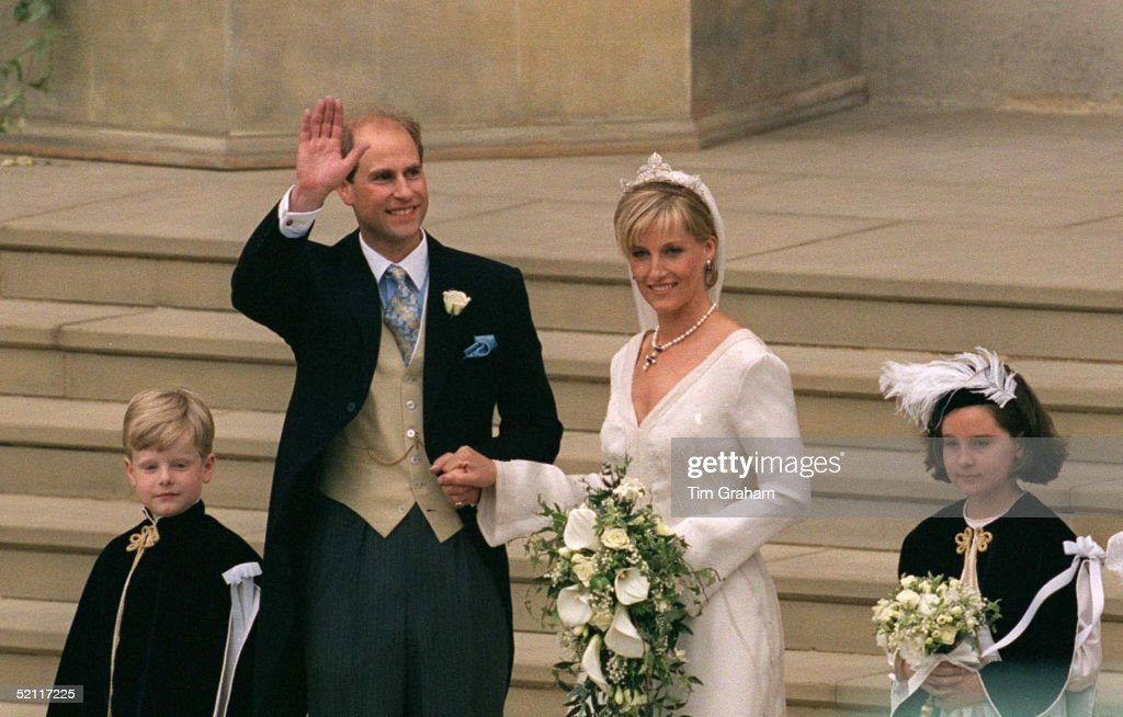 Prince Edward And His Bride, Sophie Rhys-jones, On Their Wedding Day At St George's Chapel, Windsor. Designer Of Bridesmaids And Pageboys Hats Cozmo Jenks