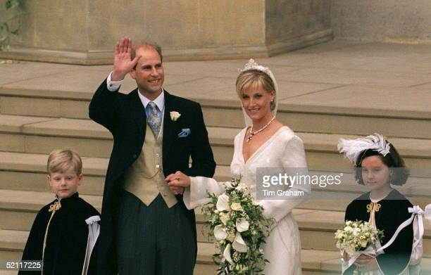Prince Edward And His Bride Sophie Rhysjones On Their Wedding Day At St George's Chapel Windsor Designer Of Bridesmaids And Pageboys Hats Cozmo Jenks