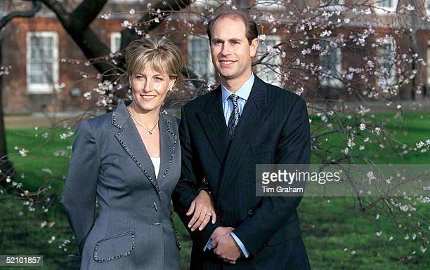 Prince Edward And His Fiancee Sophie Rhys-jones On The Day Of Their Engagement, Posing For Pictures At St. James's Palace.