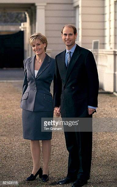Prince Edward And His Fiancee Sophie Rhysjones On The Day Of Their Engagement Posing For Pictures At St James's Palace In London
