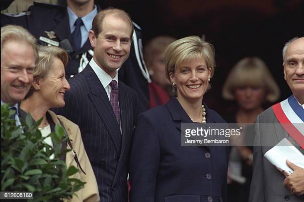 Prince Edward and his wife with the mayor of Dinard Mr Mallet