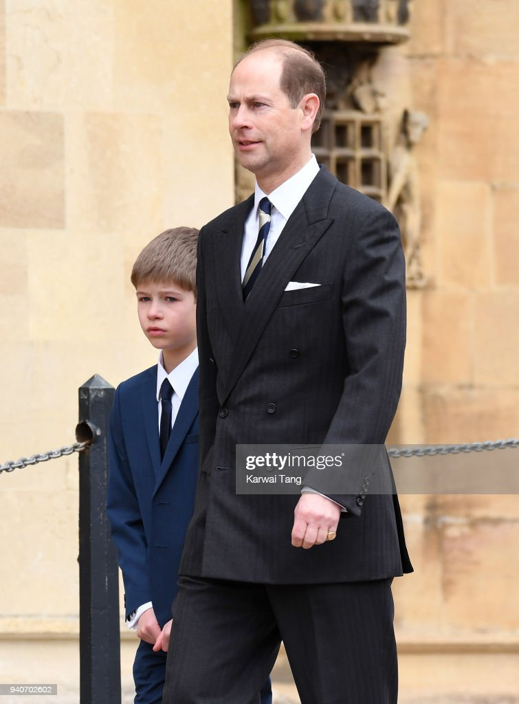 Prince Edward and James, Viscount Severn attend an Easter Service at St George's Chapel on April 1, 2018 in Windsor, England.