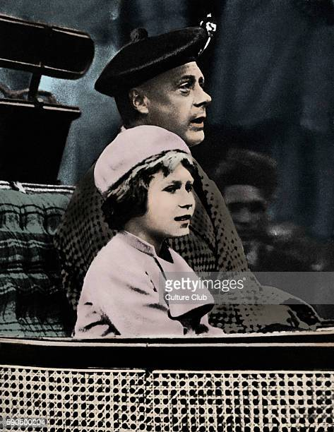 Prince Edward and Princess Elizabeth returning from Crathie Church in Balmoral, Scotland, June 1933.